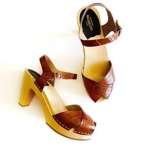 Swedish Hasbeens   Brown Croc Merci Clog Sandals